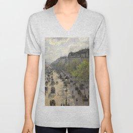 Boulevard Montmartre Spring By Camille Pissarro | Reproduction | Impressionism Painter Unisex V-Neck