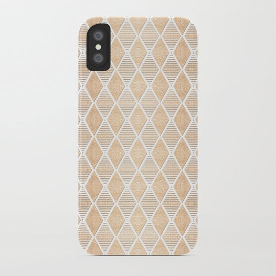 White and Copper Geometric Pattern iPhone Case