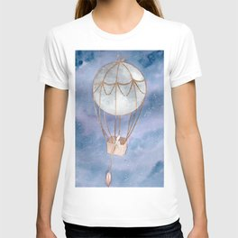 """Moon Balloon"" galaxy/ night sky watercolor painting T-shirt"