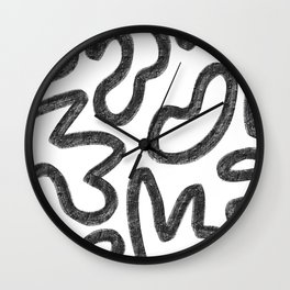 Faded White and Black Minimal Abstract Wall Clock