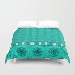 Peacock Green and White Abstract Mandala Tile Duvet Cover