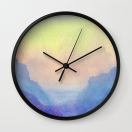 Purple Clouds - Watercolor Texture Wall Clock