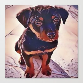 Rottweiler Puppy Born To Be Wild Canvas Print