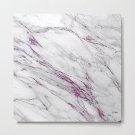 Gray and Ultra Violet Marble Agate Metal Print
