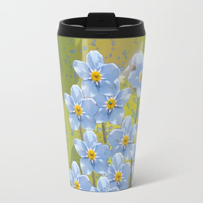 Forget-me-not flowers - watercolor art on green background Metal Travel Mug
