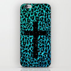 Aqua Sparkle Leopard Cross iPhone & iPod Skin