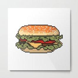 Burger pixel art on white background. Metal Print