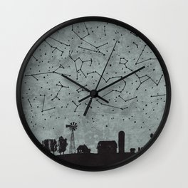 Night on the Farm Wall Clock