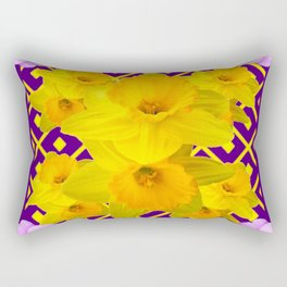 Wild Roses Gold Daffodil Purple Pattern Rectangular Pillow