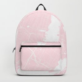 New York City Pink on White Street Map Backpack