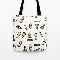 cigarettes Tote Bags featuring PIZZA, BEER, CIGARETTES by STUPIDGUMMIDREAMS
