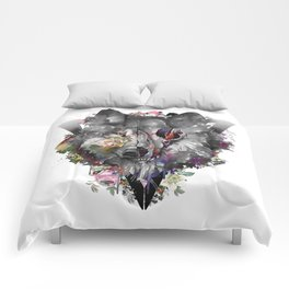 floral wolf skull Comforters