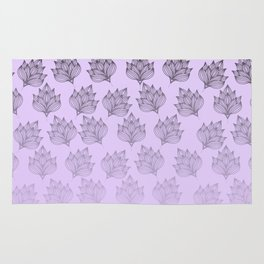 Abstract hand painted black lavender ombre floral Rug