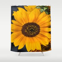 moriarty Shower Curtains featuring Sunflower by Michael Moriarty Photography