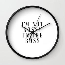 GIRL BOSS Office Decor Office Wall Art Gift For Her Typography Print Office Art Boss Lady I am not B Wall Clock