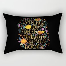 Folded Between the Pages of Books - Floral Black Rectangular Pillow