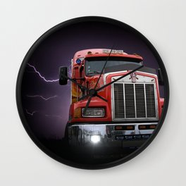 Red truck lightning bolt poster Wall Clock
