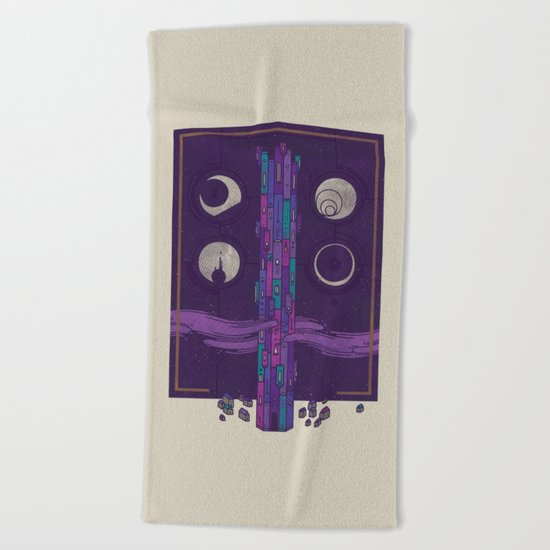 'Neath the Tower of Incomprehensible Sorcery Beach Towel