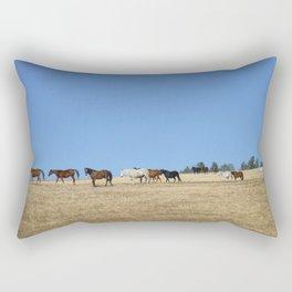 Horses in the Pasture Photography Print Rectangular Pillow