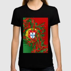 Portugal SMALL Black Womens Fitted Tee