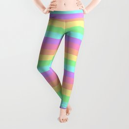 Pastel Rainbow Stripes Leggings