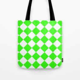 Large Diamonds - White and Neon Green Tote Bag