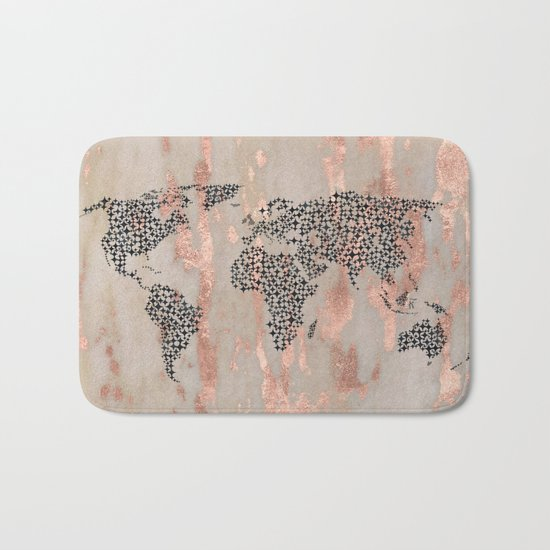 Star Map on Rose Gold Marble Bath Mat