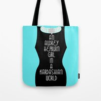 kardashian Tote Bags featuring An Audrey Hepburn girl in a Kardashian world (in blue) by Miss Golightly
