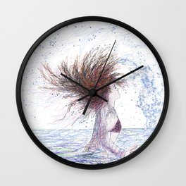 Feeling the Energy of the Sea Drawing Wall Art Wall Clock