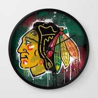 blackhawks Wall Clocks featuring chicago blackhawks hockey by abstract sports