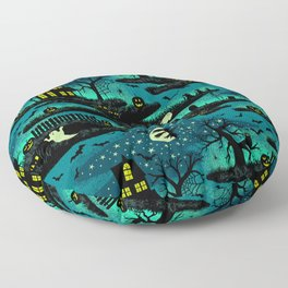 Halloween Night - Fox Fire Green Floor Pillow