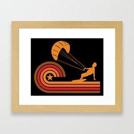 Retro Style Kite Surfer Vintage Kite Surfing Framed Art Print
