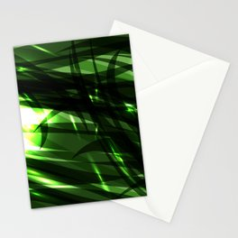 Green and smooth sparkling lines of grass on the theme of space and abstraction. Stationery Cards