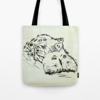 hippo Tote Bags featuring Hippo by Julia Kisselmann