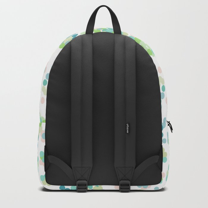 Blue green polka dots on a white background . Backpack