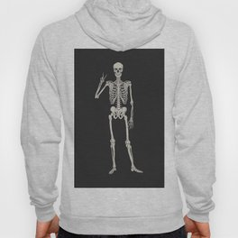 Mystic of 94 Magical Mystical Gothic Human Skeleton Giving The Peace Sign Bones Black & White Hoody