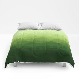 Gradient Pixel Green Comforters