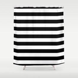 Large Black and White Horizontal Cabana Stripe Shower Curtain