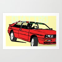 audi Art Prints featuring AUDI QUATTRO BRITISH EDITION 20V RED and BEIGE by Егор Шиянов