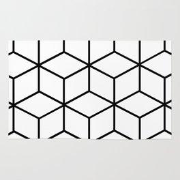 Black and White - Geometric Cube Design I Rug