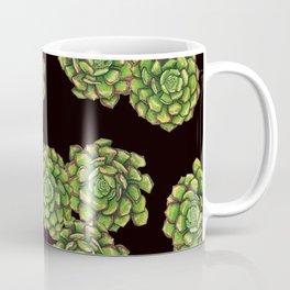 Green Succulents on Black Coffee Mug
