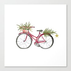 Red Christmas bicycle Canvas Print