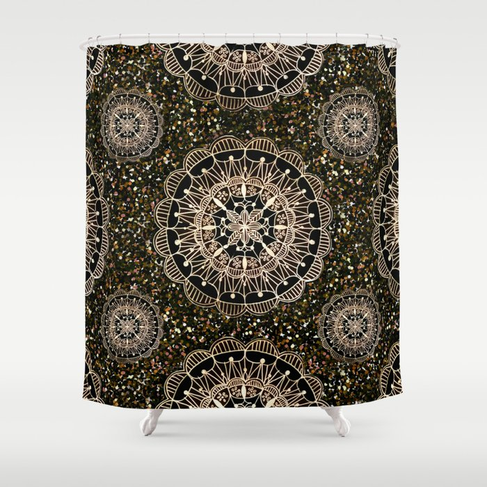 Rose Gold Mandalas with Brown and Copper Sparkles Shower Curtain