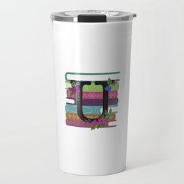 Bookish Monogram Collection U Travel Mug
