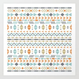 Southwestern Tribal Modern Geometric Stripes of Arrows Chevrons Diamonds Leaves Triangles Circles Art Print