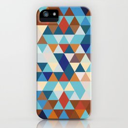 Geometric Triangle Blue, Brown  - Ethnic Inspired Pattern iPhone Case