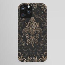 Fleur-de-lis ornament Black and Gold iPhone Case