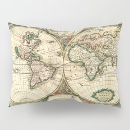 Old map of world hemispheres. Created by Frederick De Wit, published in Amsterdam, 1668 Pillow Sham
