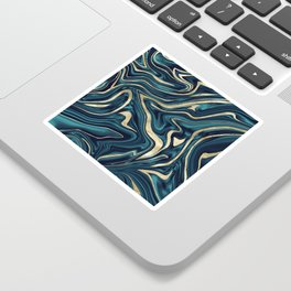 Teal Navy Blue Gold Marble #1 #decor #art #society6 Sticker