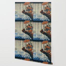 Ukiyo-e, Utagawa Kuniyoshi, Priest Nichiren praying under the storm Wallpaper